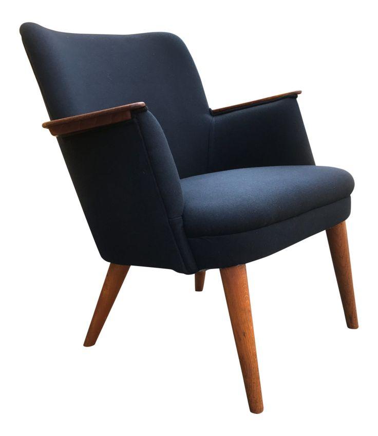 Blue easy chair with teak armrests   Brandt copenhangen