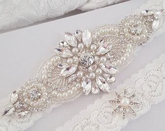 Set de boda de la liga, Liga nupcial conjunto, Liga de encaje, cristal Bridal Garter, bodas de plata de la liga, Liga de novia oro