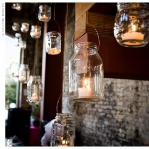 Hanging Mason Jars or votives for photobooth backdrop- Sarah