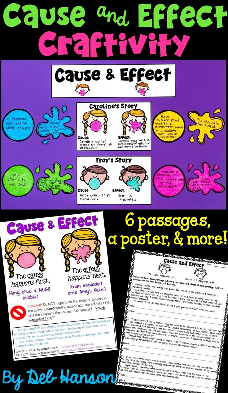 Cause and Effect worksheets and craftivity- this packet includes 6 reading  passages [ 1269 x 736 Pixel ]