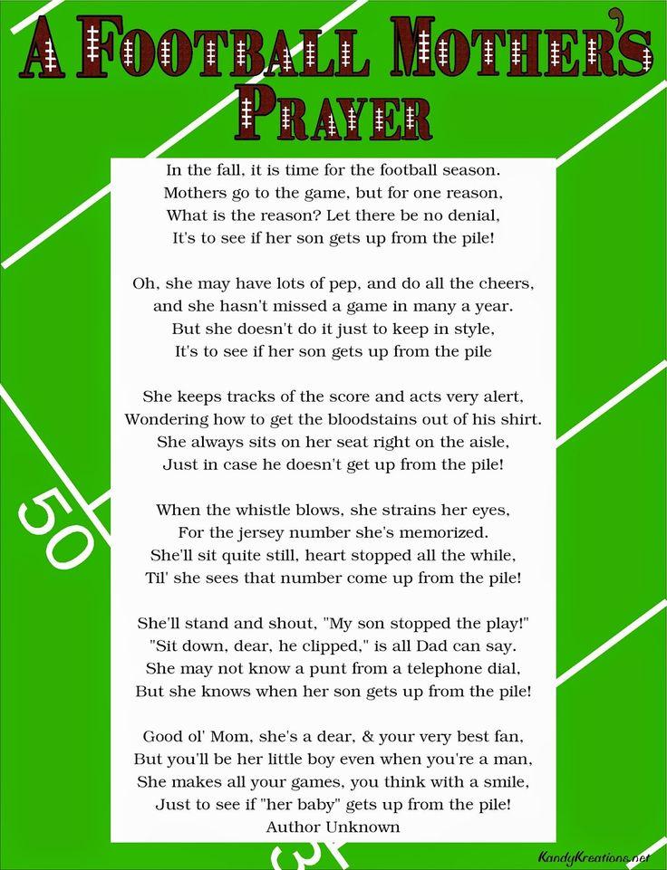 A Football Mother's Prayer Poem Free Printable Prayer poems