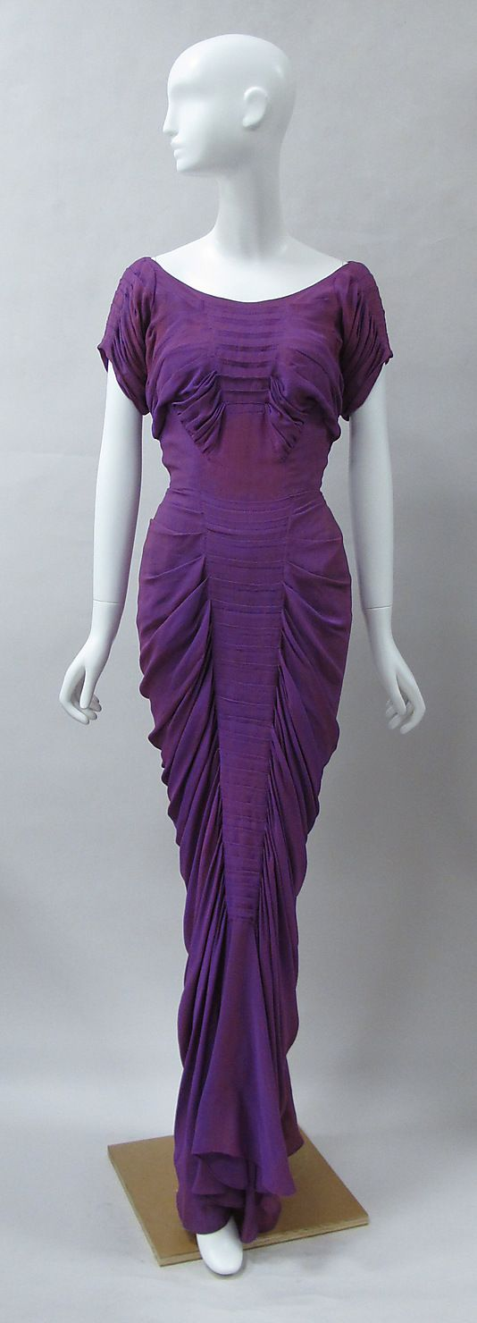 "Charles James - ""La Sirène"" 1939 vintage fashion designer couture purple evening dress gown glam dramatic draping at hips late 30s to early 40s silk rayon museum"
