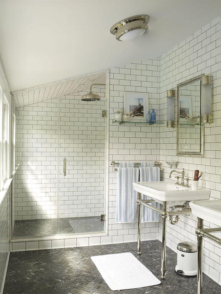 attic bathroom with subway tile