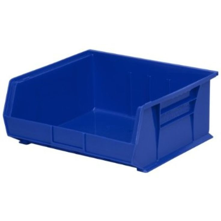 Akro Mils Akro-Mils 30235 Plastic Storage Stacking Hanging Akro Bin, 11-Inch by 11-Inch by 5-Inch, Blue, Case of 6