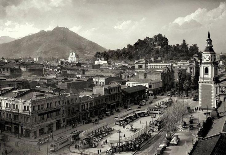 Alameda Santiago de Chile 1935 Pérgola de las Flores, Iglesia de San Francisco - Enrique Mora
