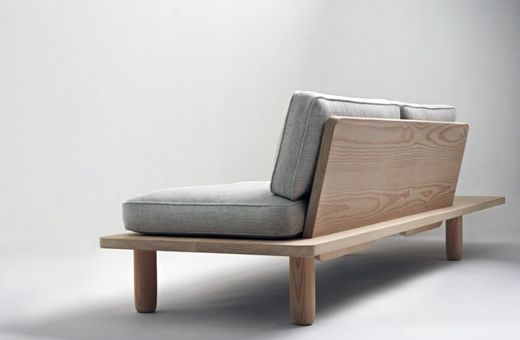 Platform Sofa.  Gray wash the wood.  Bohemian covered cushions.