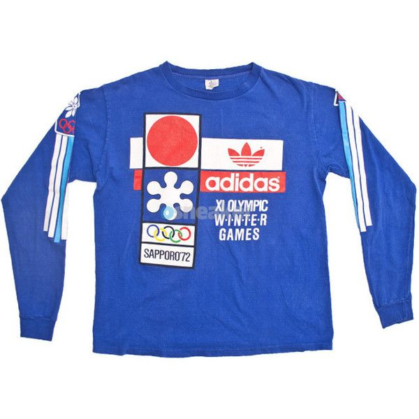 Adidas Longsleeve Shirt Winter Olympics X/XI ($100) ❤ liked on Polyvore featuring tops, t-shirts, blue tee, long sleeve t shirts, vintage tees, blue shirt and adidas tee