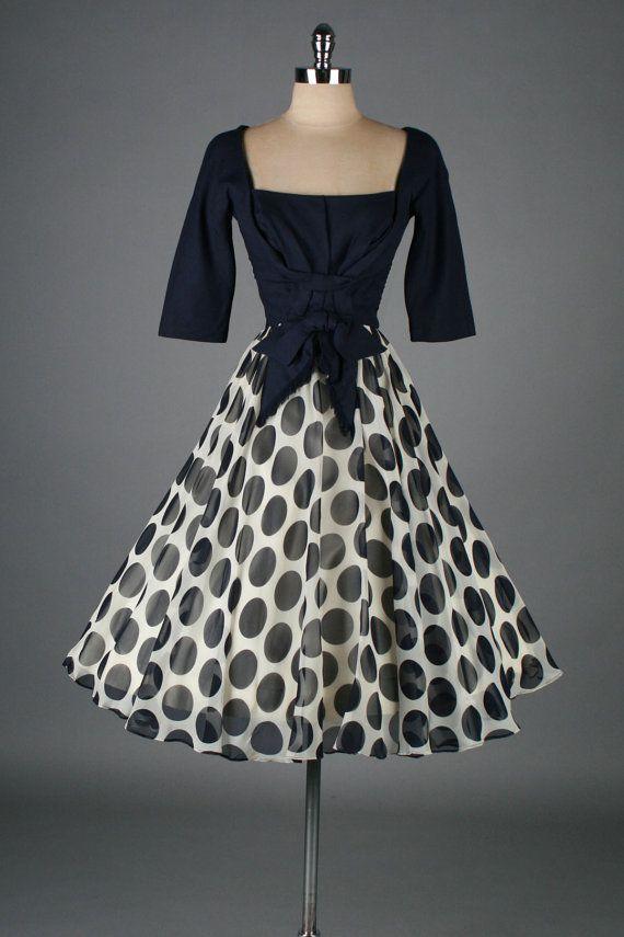 vintage 1950s dress . blue and white polka by millstreetvintage