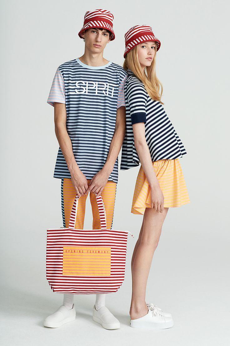#Esprit #EspritxOC #OpeningCeremony #80s #california #casual #shirt #skirt #popingcolors #stripes #bag