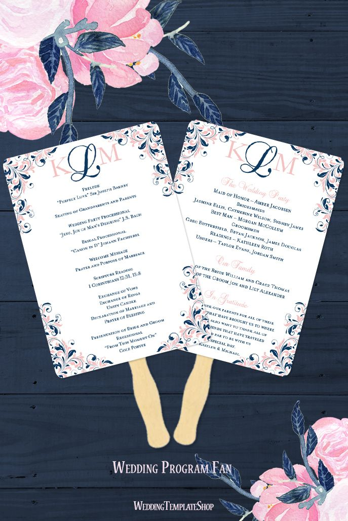 wedding planning checklist spreadsheet free%0A Wedding Program Fan Kaitlyn Navy Blue Blush Pink Monogram