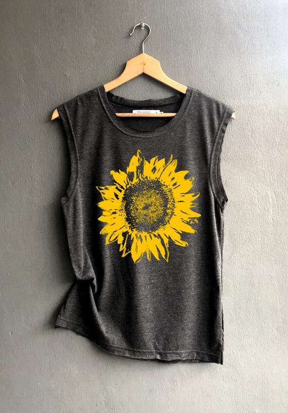 Flower muscle tee - sunflower Shirt - muscle tee of Summer Shirt - Muscle Tank Top Womens 3
