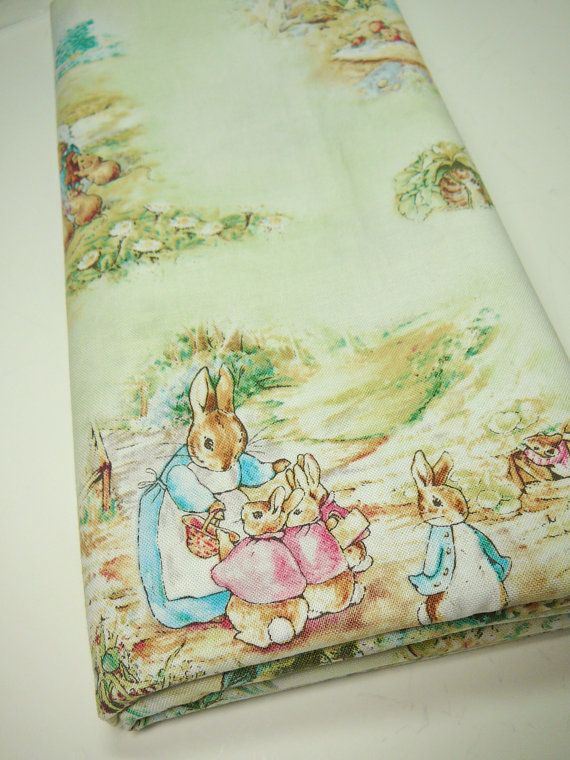 Beatrix Potter Fabric Yards Quilting Quality Cotton 1 Yard One And Half Peter Tail Benjamin Bunny