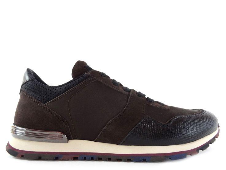 Sneakers Tod's - Todrun Access en cuir noir, nubuck et toile marron