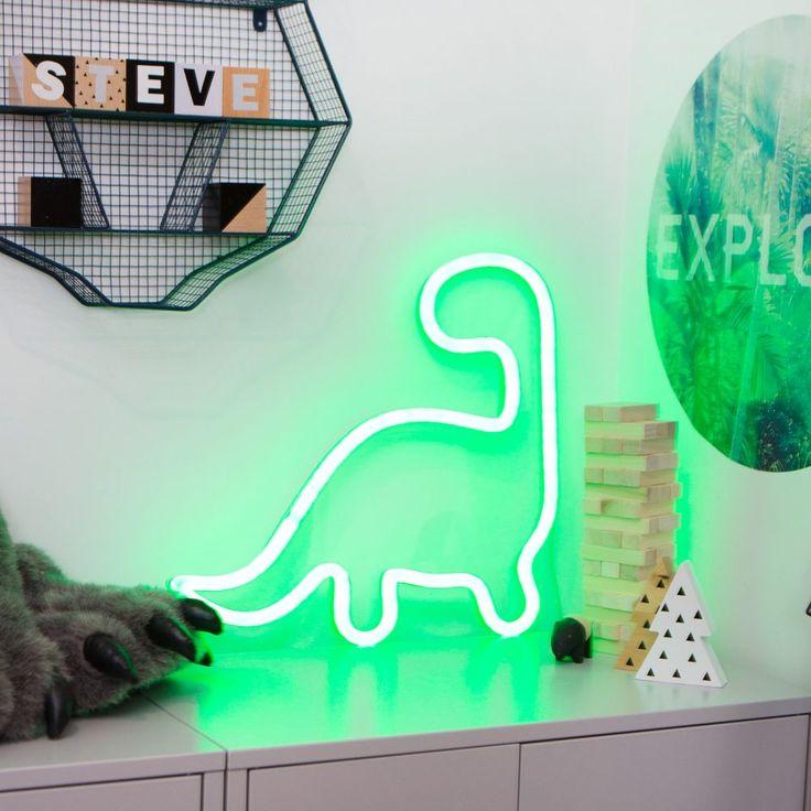green LED neon dinosaur kids nursery home Steve