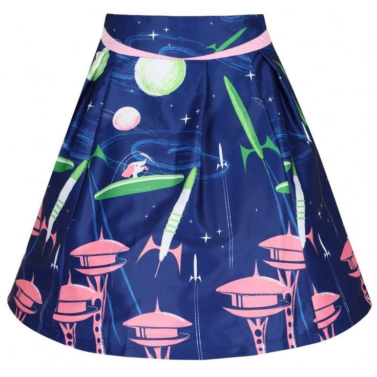 'Alizey' Navy Space Dog Print Flared Skirt