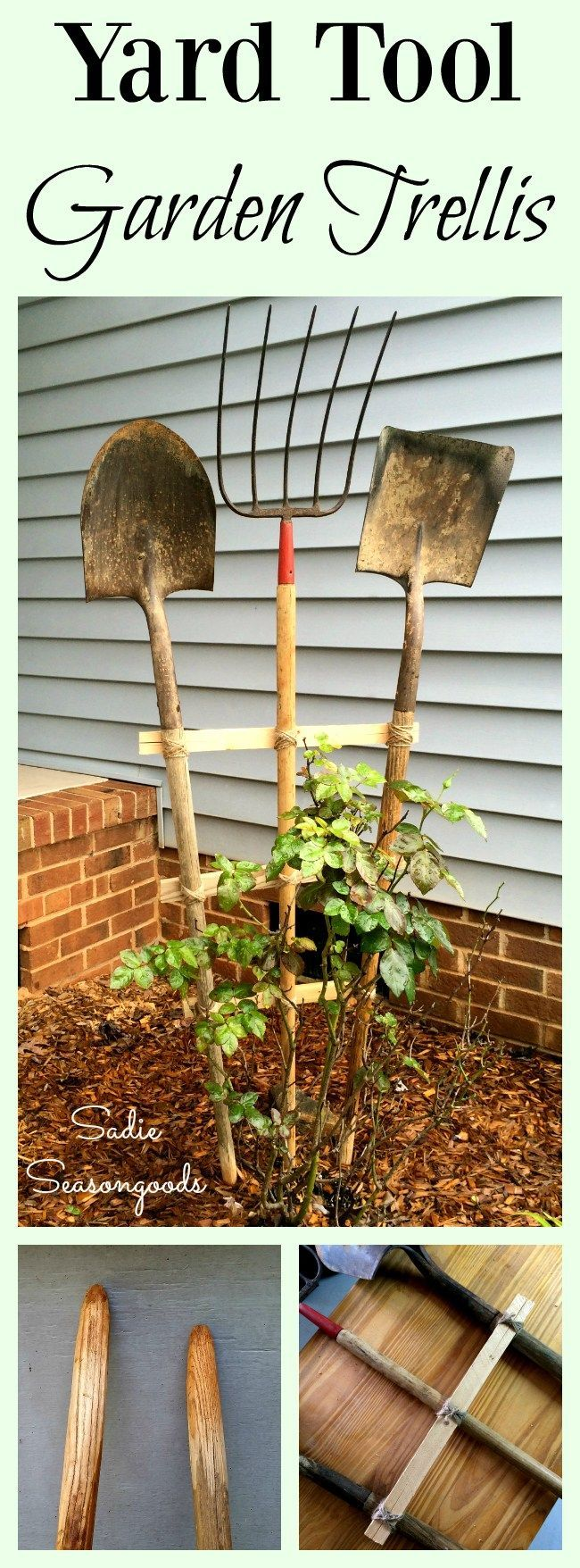 Old vintage garden tools from the thrift store or the barn out back are excellent for repurposing into a DIY trellis! Whether you need a trellis to be functional for climbing vines or just decorative to add a rustic farmhouse touch to your yard, this DIY tutorial will guide you through the creative process. Great Fixer Upper style upcycle craft project from #SadieSeasongoods / www.sadieseasongoods.com