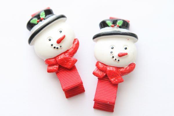 Christmas Resin Clips - Snowman