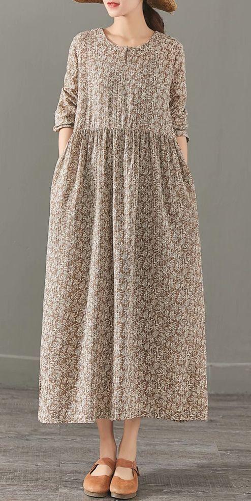 Elegante beiläufige Maxi Baumwolle Leinen Kleider Frauen Frühling Kleidung 1382