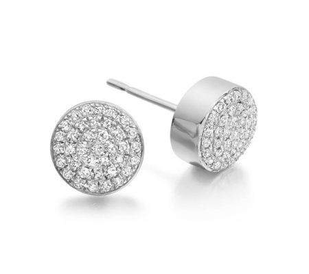 Ava Button Stud Earrings in Sterling Silver with Diamond | Jewellery by Monica Vinader