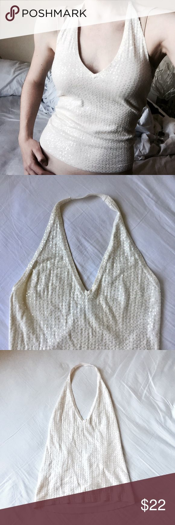 🌞BCBGMaxAzria Off White Sequin Top Exactly as it appears! Super beautiful! BCBGMaxAzria Tops Tank Tops