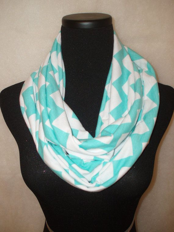 Tiffany Blue Chevron Infinity ScarfCircle by ATrendyChicBoutique, $22.99