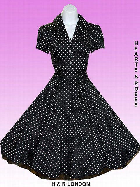 H&R London Black and White Polka Dot Vintage Swing Dress