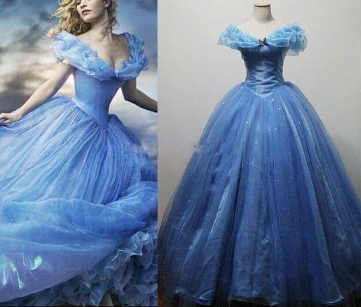2015 New Movie Cinderella Princess Dress Cosplay Costume for Adult + petticoat  #yuehongjiafa #Dress #cosparty