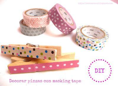 Diy decorar pinzas con masking tape washi tape pinterest tape masking and diy and crafts - Decorar con washi tape ...