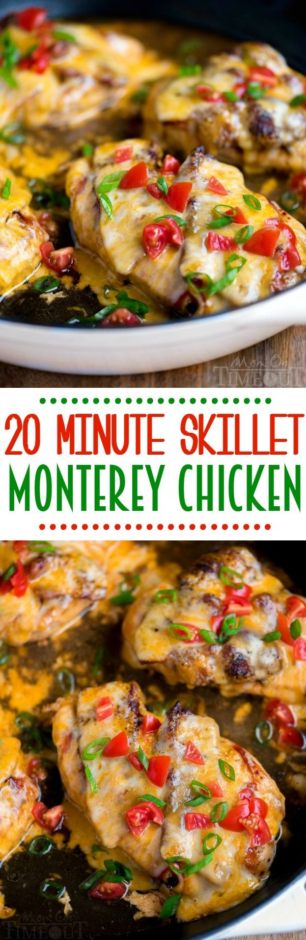 20 Minute Skillet Monterey Chicken on Got 20 minutes? This 20 Minute Skillet Monterey Chicken is just what you want to make for dinner tonight…trust me! Chicken, barbecue sauce, bacon, and glorious cheese come together in this delightful yet simple dish. Sure to become a regular request at your home!