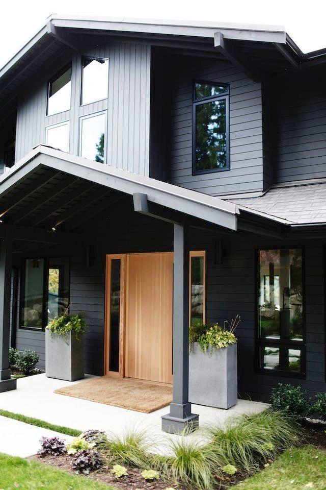 Dark Grey House Exterior Stucco