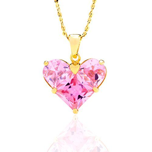 """Pink Heart CZ Pendant Necklace, 24K Overlay Gold Chain for Women 18"""", Tarnish-Resistant, Lifetime Jewelry. ►CZ Heart Necklace + 18"""" Chain. 100% UNCONDITIONAL FREE LIFETIME REPLACEMENT GUARANTEE ON ALL LIFETIME JEWELRY(TM)! In business since 1978!. ►Real 24 Karat gold, laid over a heart of semi-precious metals, Tarnish Resistant. 20mls of 24 karat gold per chain - 10 times more gold than in the cheaper electroplate that changes color quickly. BEWARE OF CHEAP IMITATIONS! LIFETIME WARRANTY…"""