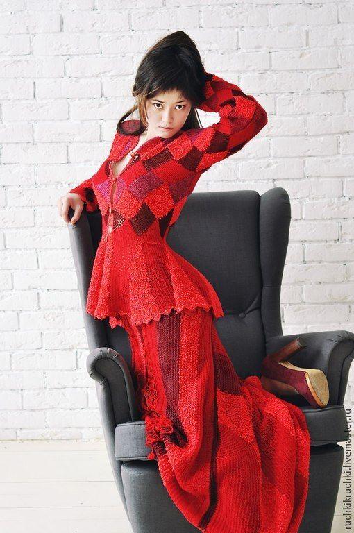 """Купить Жакет """"Красная королева"""" спицами и крючком из мериноса, шерсти и шелка - в клеточку, вязаный жакет"""