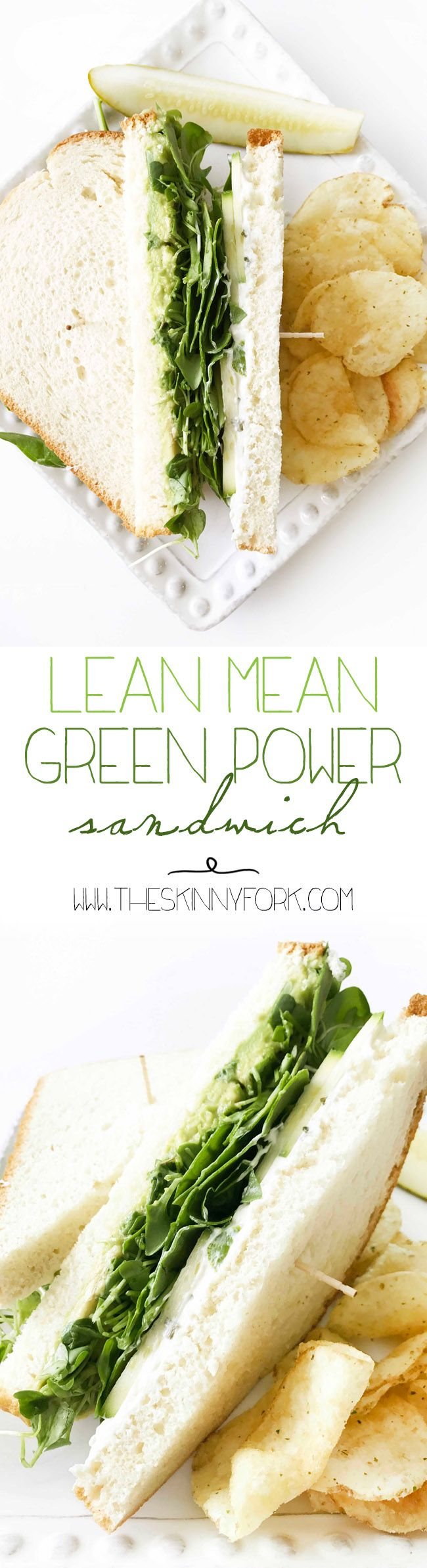 It's the NEW New New Lean Mean Green Power Sandwich! It's loaded up with almost everything green. It's filling, delicious, and meatless - perfect for these hot (and lazy) summer days! TheSkinnyFork.com | Skinny & Healthy Recipes