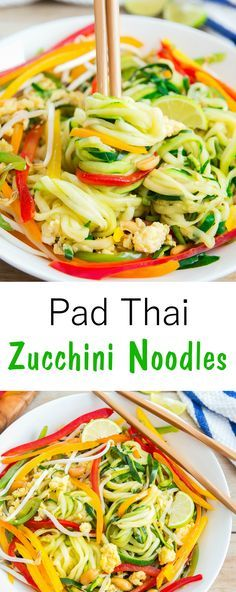 Pad Thai Zucchini Noodles. A low carb version of the popular Thai dish.