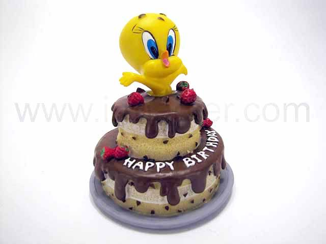 "Tweety  ""Happy birthday""   chocolate cake"