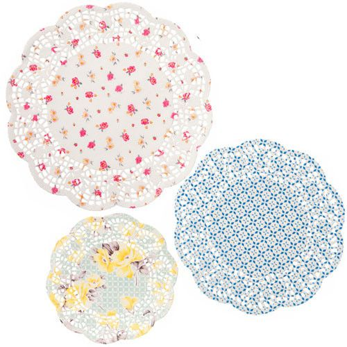 Delightful tableware for your celebration! Display delicious desserts or tea sandwiches in our Tea Party Doilies. They come in 3 different floral designs. Quantity: 24 Pretty Doilies. 3 different size