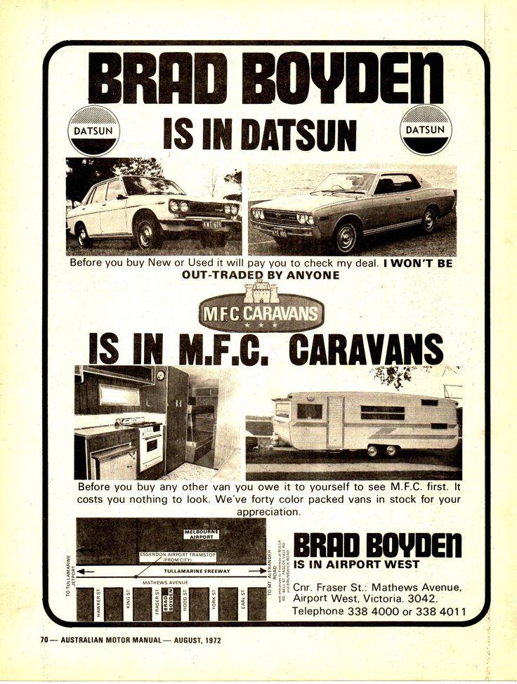 https://flic.kr/p/YJenbS   1972 Datsun Brad Boyden Car Yard Nissan  Aussie Magazine Advertisement