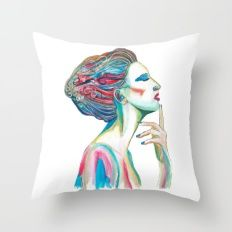 Colorful ink drawing of a women, ink art, girl illustration, modern women art Throw Pillow