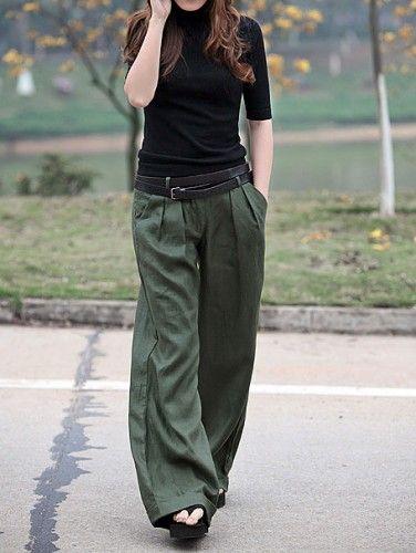 Olive wide leg pants
