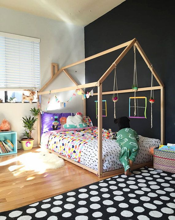 Full size house bed with slats from birch / bed house / kid's nursery / wooden house bed / Montessori nursery