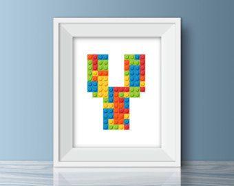 Ähnliche Artikel wie Monogramm Lego Wandkunst auf Etsy