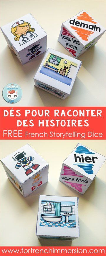 FREE French Storytelling Dice: your students will have so much fun creating stories in your French classroom! Dés pour raconter des histoires :) ✿ #frenchteacher #fsl #french #learning #language #spokenfrench #speakingfrench #vocabulary ✿ Repin for later!