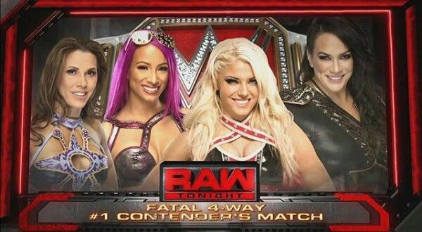 Fatal four #1 contenders match for the RAW womens championship last night. || mickie james, sasha banks, alexa bliss, and nia jaxx