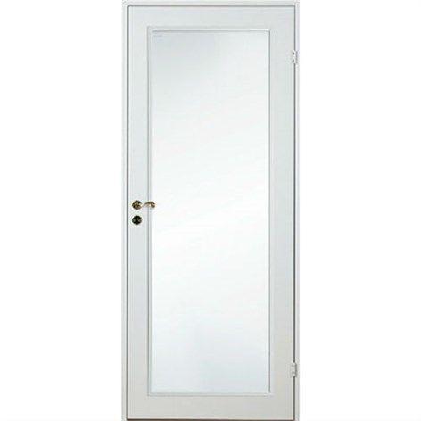 Innerdør Diplomat Lett Hvit Helt glass Bredde 100 cm, Høyde 200 cm - Enkel innerdør - Innerdører