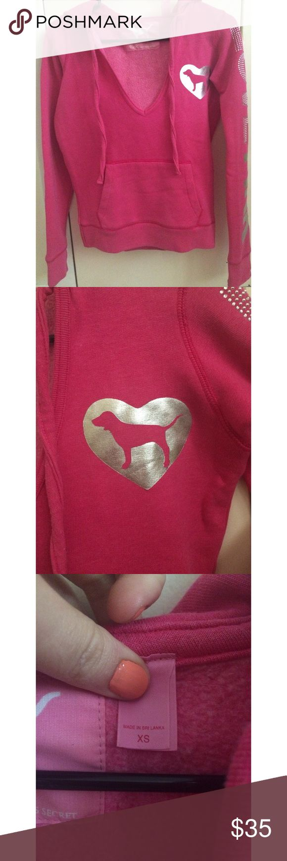 VS Pink Hoodie Hot pink VS Pink hoodie w/ sparkly details!  Too small on me, would fit XS/S quite well. No trades, flexible on offers. Thanks  PINK Victoria's Secret Jackets & Coats