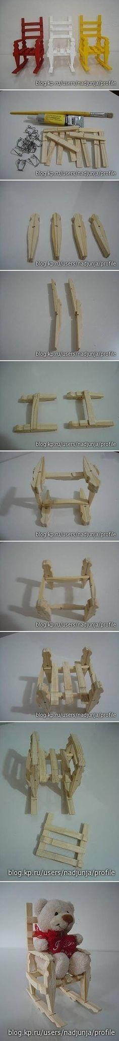#DIY #crafts for #dolls Sillas barriguitas con pinzas de madera rotas