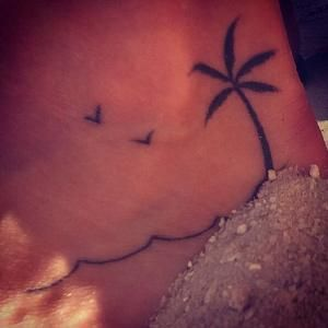 Palm tree tattoo foot girl small cute sand beach sea by donna