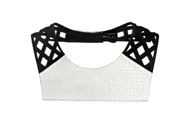 Daniel Havillio leather bib necklace. Docca necklace. Perforated lamb nappa & neoprene. Leather Jewelry. www.danielhavillio.com