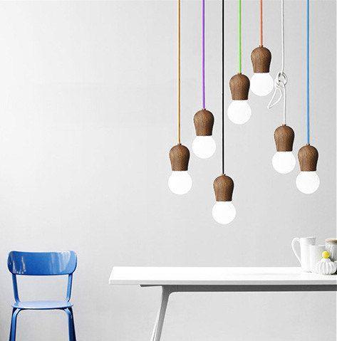 Wooden socket pendant light / minimalist / fun / novelty / rainbow / Lampe suspension bois
