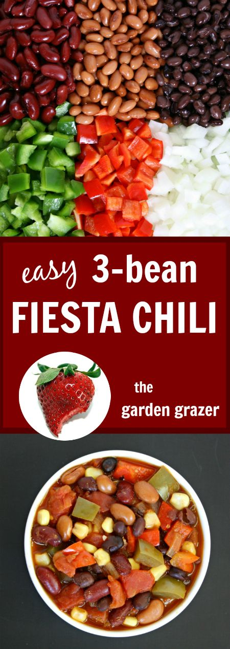 Easy vegan 3-Bean Fiesta Chili packed with warm, savory flavor!! Try ...